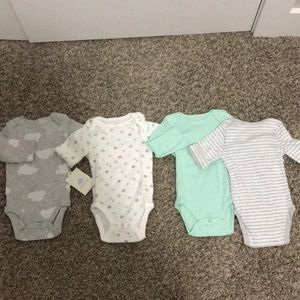 """Baby Bodysuits 4-pack """"clouds, stars, and moons"""""""